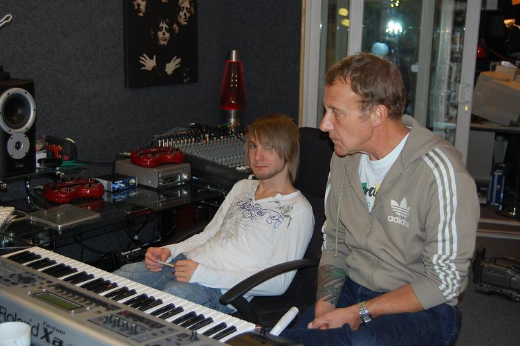 Ash and Steve listening to play back (Ash - top engineer with a big future)