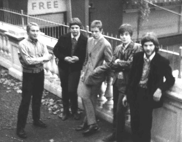 (Left to Right) Me, Mo Bacon, Morgan Fisher, Mick Jackson, Georgie Michaels. Outside Florida Rooms, 1966.